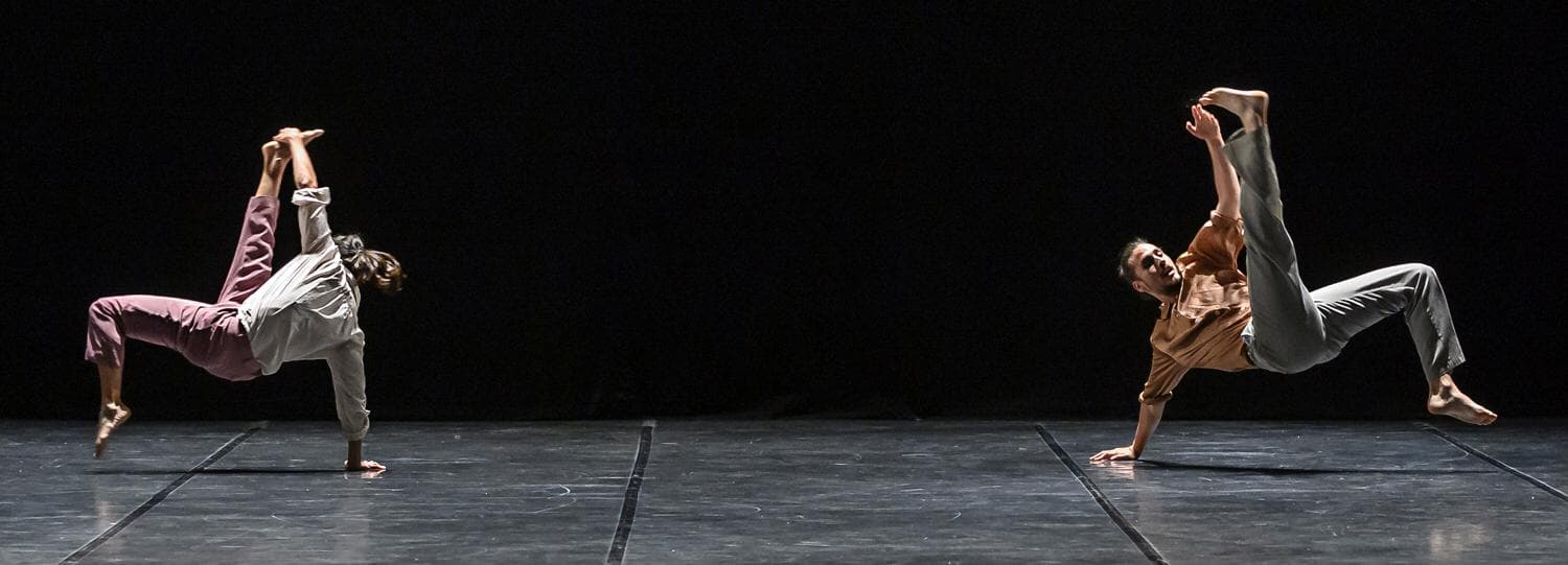 A still frame of Catherine Coury and Mario Bermudez Gil performing the piece DUET ALANDA